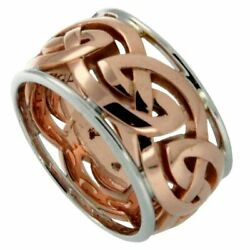 10k Rose Eternity Knot X-wide + 10k White Rails Ronnoch Ring By Keith Jack