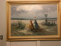 Vintage Oil On Canvas Girls On The Beach Signed By Myers