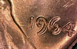 1964 Lincoln Unc Cent Doubled Die Obverse Error Penny Red Ms State