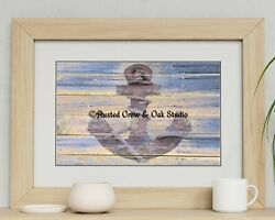 Rusty Anchor Grey Blue Beach Lake House Coastal Home Decor Matted Picture A177
