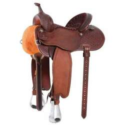 Western Brown Strip Down Waffle Tooled Roper Ranch Saddle 151617