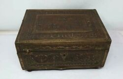 Ancient Old Wooden Hand Carved Brass Floral Design Perfume Jewelry Box