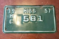 Vintage 1957 Mississippi Motorcycle License Plate Original Paint Clean Rare