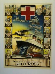 Vintage 1930's Progress With American Junior Red Cross By D Lowry Poster