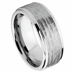 9mm Tungsten Carbide Menand039s Wedding Band Ring Brushed Finish Hammered Cut Sz 7-15