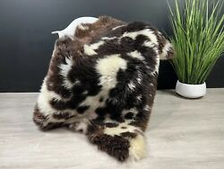 Gorgeous Natural White Brown Spotted Sheepskin Rug Pelt Genuine Leather