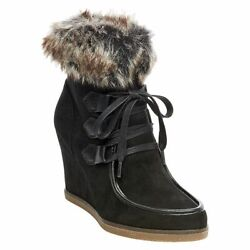 Merona Jaden Faux Suede Shearling Style Wedge Boots New - Size 11 Camel/black