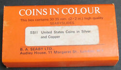 Vintage United States Silver Copper Coins In Colour - 30 Seaby Slides 35mm Rare