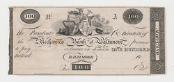Proof Unl 100 Mechanics Bank Of Baltimore Md Maryland Obsolete Currency