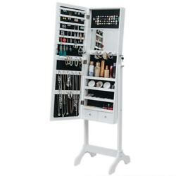 Free Standing Full Length Mirror Jewelry Cabinet Armoire Storage Holder White