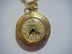 Geneve Antique 18k Solid Gold Ladyand039s Pocket Watch On 18k Gold Chain