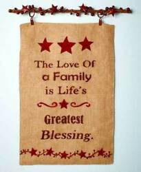 Country Burlap Wall Banners Simplify Berries And Stars Family Sentiments Hanging