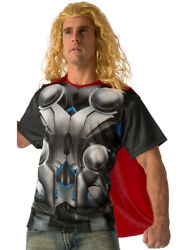 Men#x27;s Thor T Shirt And Cape Set Avengers 2 Costume Size Large