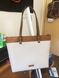 Fossil Ana Tote Top Zip Greywhitebrown leather