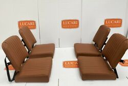 4x Full Tan Fluted Leather Rear Inward Facing Seats Fit Land Rover Defender
