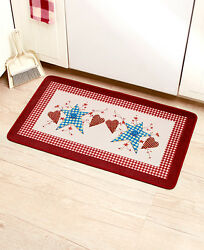 Primitive Hearts And Stars Kitchen Mat Patchwork Berries Folk Art Country Bath Rug