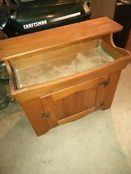 Vintage Solid Wood Cabinet Dry Sink With Copper Insert Liner
