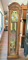 C004c Vintage Working Beautiful Howard Miller Tall Case Grandfather Clock