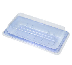 Pet Take Out Blue Food Container Sushi Tray With Lid Cookie Cake Box 6.4 X 3.5