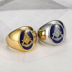 Free Mason Menand039s Masonic Ring Solid Stainless Steel Gothic Punk Biker Band Rings