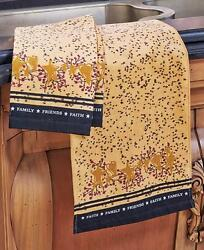 2pc Primitive Hearts And Stars Kitchen Towels Set Country Berries Folk Art Decor