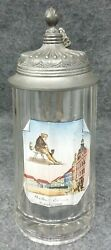 12 L Antique Enameled Russian Glass Beer Stein w Zinc Lid Man Smoking Pipe