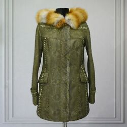 All Sizes Women's Genuine Python Leather Real Fox Fur Collar Green Exotic Coat