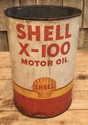 Vintage 5 Qt Shell X-100 Motor Oil Tin Can Gas Service Station W Shell Graphic