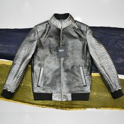 Zilli Genuine Calf Hair Real Python Leather Exotic Menand039s Metalic Grey Jacket