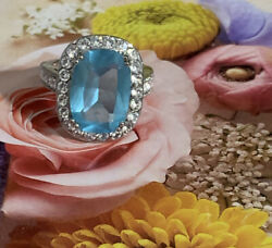 Sterling Silver CZ Cushion Blue Cocktail Ring 5 12 $21.99