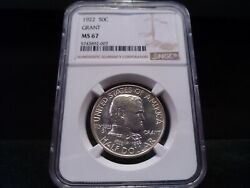 1922 Ms67 Grant Silver Commemorative Ngc Certified Superb Gem - Bright White