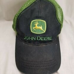 John Deere Hat Authentic Licensed Black and Green Mesh Hat Cap Tri County Equip. $14.99