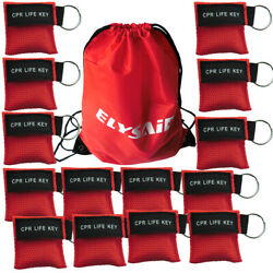 100pcs Red Cpr Mask With Keychain Cpr Face Shield Key Aed Pocket Mask