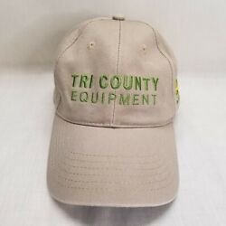 John Deere All Fabric Tan HatCap Strap Back With Green Logo Tri-County Equip $14.99