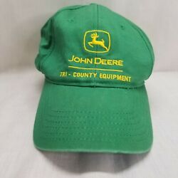 John Deere Green Fabric Hat Cap w Adjustable Plastic Snapback Tri-County Equip. $14.99
