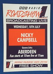 Bbc Radio 1 A4 Roadshow And03991 Flyer Poster Nicky Campbell Aberdeen