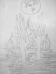 Sadequain Naqvi Pen And Ink Drawing Signed And Dated Reference The Holy Sinner