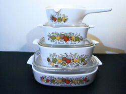 Set Of 4 - Vintage 1970s Corning Ware Spice O' Life Covered Casserole Baking