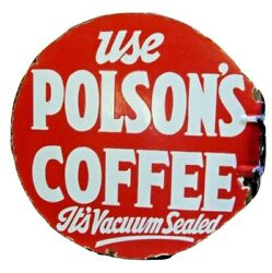 Rare Old Polson's Coffee Enamel Porcelain Tin Sign Board Double Side Printed