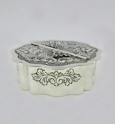 Italian 925 Sterling Silver Handmade Chased Floral Leaf Swirl Besumim Spice Box