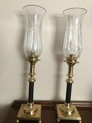 Vintage Brass Black and Cut Glass Candle Stand Set
