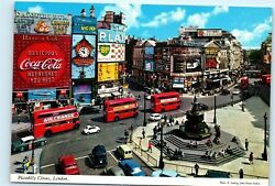 Piccadilly Circus London Double Decker Bus Coca Cola Sign Old 4x6 Postcard B93