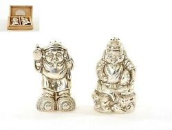 Old Japanese Sterling Silver Salt And Pepper Ebisu And Daikoku 7 Lucky God Wood Box