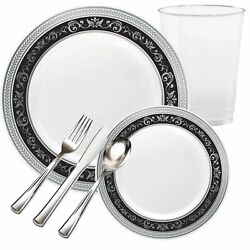 Royal Fancy Disposable Plastic China Look Black Silver Party Tableware Package