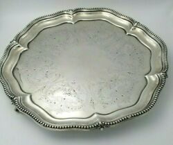 English Sterling Silver Round Claw Footed Tray W/ Beaded Edge Date 1870 10153