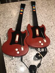 Sold As Is- Lot Of 2 Playstation 2 Guitar Hero Wired Controller Gibson Pslgh