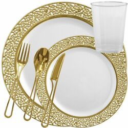 Inspiration Fancy Disposable Plastic China Look White Gold Lace Tableware Set