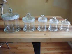 5 Graduated Antique Apothecary Jars Free Blown Glass Candy Store Wet Specimens