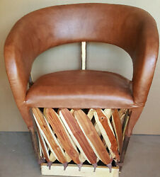 Mexican Equipale Cushioned Tarahumara Wood Back And Leather Tobaco 025cst