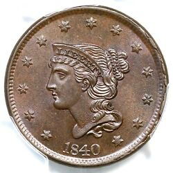 1840 N-8 Pcgs Ms 64 Bn Cac Lg Date Braided Hair Large Cent Coin 1c